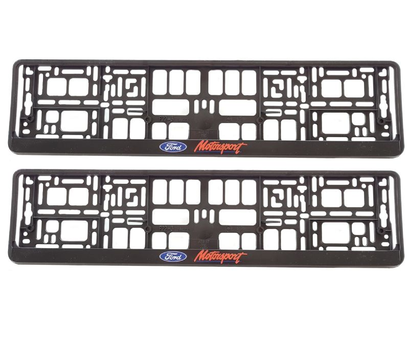 2 x Ford MotorSport Number Plate Holder Surround Mounting | Black + Red + Blue